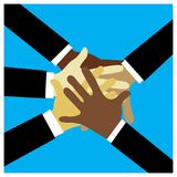 Business partnership. Different skin color hands, business partnership illustration Royalty Free Stock Photography