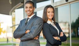 Business, partnership, gesture success and people concept Stock Photos