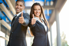 Business, partnership, gesture success and people concept Stock Images