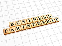 Business partnership in golden cubes Royalty Free Stock Photo