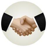 Business partnership handshake in circle Stock Image