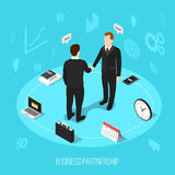 Business Partnership Isometric Background. Isometric people partnership conceptual background with composition of office equipment silhouette pictograms and Royalty Free Stock Photography