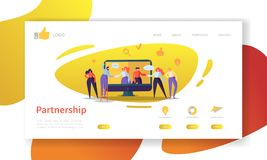 Business Partnership Landing Page Template. Website Layout with Flat People Characters Cooperation. Easy to Edit