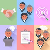 Business partnership, management, teamwork icons Stock Photo