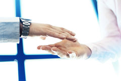 Business partnership meeting concept. Image businessman handshake.Blurred,sunlights Stock Images