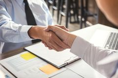 Business partnership meeting concept. Image businessmans handshake. Successful businessmen handshaking after good deal royalty free stock images