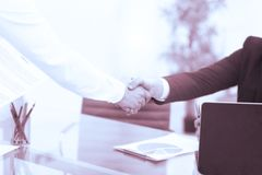 Business partnership meeting concept. Image businessmans handshake. Successful businessmen handshaking after good deal.  Royalty Free Stock Photo