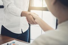Business Partnership Meeting Concept, Two Confident Business Han Stock Photos