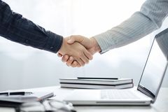 Business partnership meeting concept, Two confident Business han royalty free stock photo