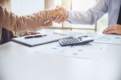 Business partnership meeting concept, Two confident Business han royalty free stock images