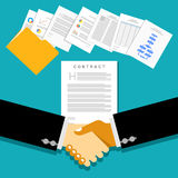 Business partnership meeting with document contracts or agreements royalty free illustration