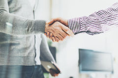 Business partnership meeting. Photo businessmans handshake. Successful businessmen handshaking after good deal Stock Images