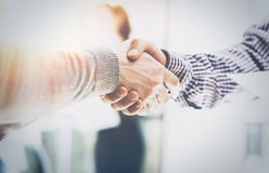 Business Partnership Meeting.Photo Two Businessmans Hands Handshake Process.Successful Businessmen Handshaking After Stock Images