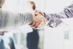 Business partnership meeting. Picture businessmans handshake. Successful businessmen handshaking after good deal Royalty Free Stock Photo