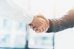 Business partnership meeting. Picture businessmans handshake. Successful businessmen handshaking after good deal Stock Photography