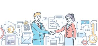 Business partnership - modern flat design style colorful illustration. On white background. An image of two young businessmen shaking hands, making an agreement Stock Photos