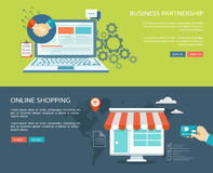 Business  partnership and online shopping flat banners set with Stock Photos