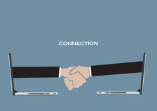 Business Partnership Over Technology Conceptual Vector Illustrat Royalty Free Stock Image