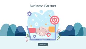 Business partnership relation concept with hand shake and tiny people character. team working together template for web landing vector illustration