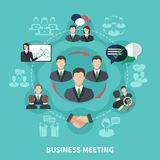 Business Partnership Round Composition. Business meeting composition of isolated silhouettes with flat human images thought bubbles arrows and handshake icons Royalty Free Stock Photography