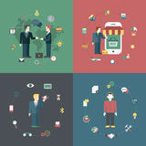 Business partnership shopping icon banner flat isometric vector Royalty Free Stock Image