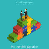 Business partnership solution handshake flat 3d vector isometric. Business partnership solution flat 3d isometry isometric concept web vector illustration Royalty Free Stock Photography