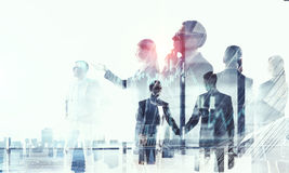 Business partnership and success concept. Mixed media Stock Photo