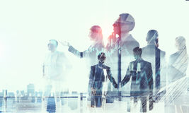 Business partnership and success concept. Mixed media Stock Photography