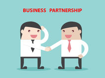 Business partnership to achievement. Businessman handshake. Flat design business financial marketing concept cartoon illustration Stock Images