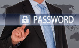 Business password security. Body of a businessman touching a padlock next to the word password on an interactive screen, security concept Stock Photo