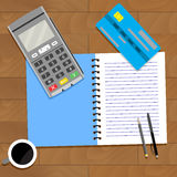 Business paying finance. Accountancy personal, coffee and notebook, vector illustration Stock Photography