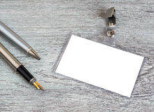 Business, pen, badge. Pen, badge, blank ID card or security, macro, view from above Stock Photo