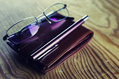 Business pen glasses notebook Stock Photo