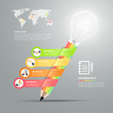 Business pencil lightbulb Infographics step option. Vector illustration vector illustration