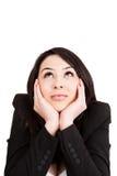 Business pensive woman having an idea. Business happy young woman having an idea stock photos