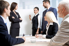 Business people. Discussing in a training stock image