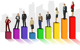 Business people. Conceptual business illustration of office people over chart Stock Image