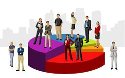 Business people. Conceptual business illustration of office people over chart Stock Images