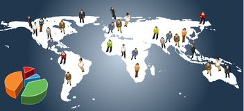 Business people. Conceptual business illustration of office people over earth map Stock Photography