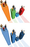 Business people. Conceptual business illustration of office people over chart Stock Photos