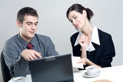 Business people. Bussinessman and businesswoman working at office Stock Photography