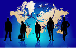 Business people. Business background with peoples and world map with airplanes route Stock Image