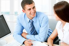 Business people. Image of business people discussing plan at meeting Royalty Free Stock Images