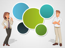 Business people. Colorful template with cartoon business man and woman. Presentation screen Stock Photos