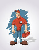 Business people. Cartoon worker with red tool box Royalty Free Stock Photos