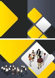 Business people. Yellow template for advertising brochure with business people Royalty Free Stock Image
