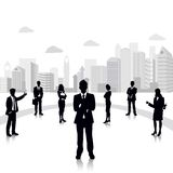 Business People. Easy to edit vector illustration of business people standing on background with office building royalty free illustration