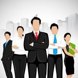 Business People. Easy to edit vector illustration of business people standing on background with office building stock illustration