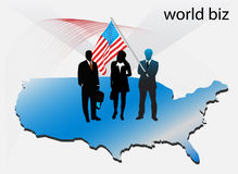 Business people. Illustration of business people with usa map royalty free illustration