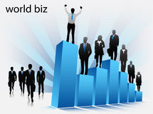 Business people. Illustration of business people on graph stock illustration